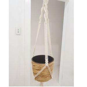Macrame Beaded Plant Hanger - Handmade